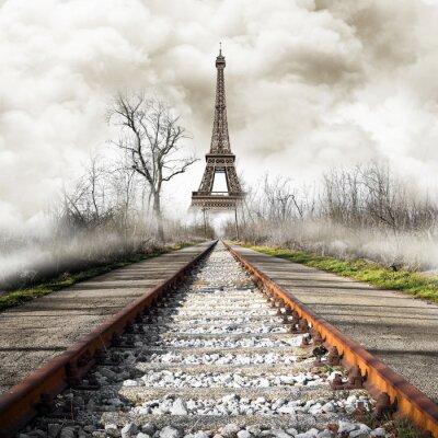 Naklejka Parigi w treno rocznika