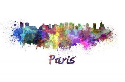 Naklejka Paris V2 skyline w akwarela