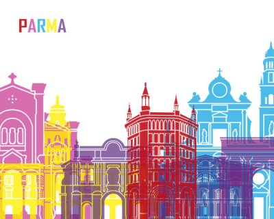 Naklejka Parma skyline pop