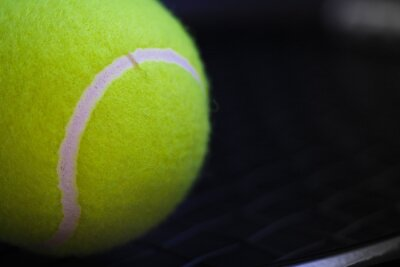 part of new yellow tennis ball on black net racket background, copy space on right