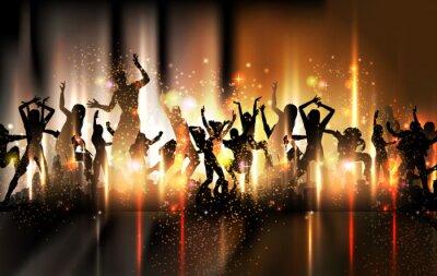 Party Ilustracja dźwiękowa z tańczących ludzi tło