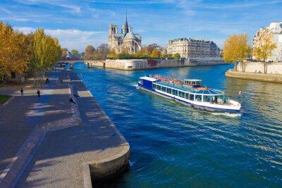 Naklejka Paryż, la Seine et Notre-Dame vu du Pont de la Tournelle