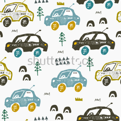 Naklejka Pattern with cars. Hand drawn autos on the road. Scandinavian style design. Decorative abstract art. Textile or fabric design