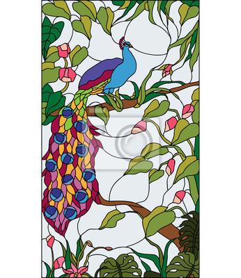 Naklejka Paw w ogrodzie z kwiatami, witraż, wektor