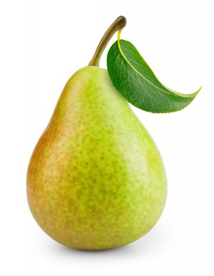Naklejka Pear isolated. One green pear fruit with leaf on white background. Green pear. With clipping path. Full depth of field. .