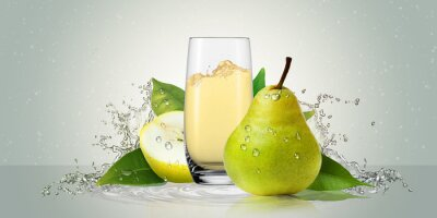 Naklejka Pears with a glass of juice.