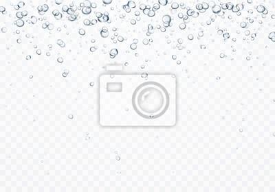Pęcherzyki podwodne tekstury na przezroczystym tle. Wektor gazowane powietrze, gaz lub tlen pod wodą. Realistyczny napój szampan, szablon efekt sody.