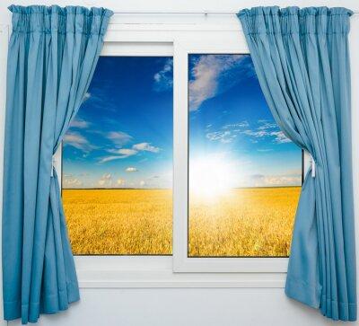 Naklejka pejzaż z widokiem przez okno z zasłonami