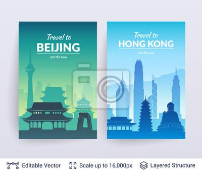 Pekin i Hongkong słynne miasto scapes.
