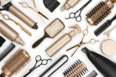Naklejka Pełna rama narzędzi profesjonalnych fryzjer na białym tle