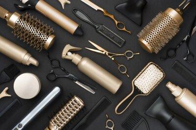 Naklejka Pełna rama narzędzi profesjonalnych fryzjer na czarnym tle