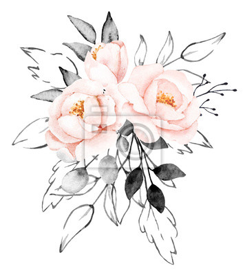 Peonies, watercolor pink and gray flowers. Floral summer vintage illustration isolated on white background. Hand drawing. Perfectly for wedding, birthday, party, other greetings design.