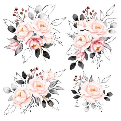 Naklejka Peonies, watercolor pink and gray flowers set. Floral summer vintage collection isolated on white background. Hand drawing. Perfectly for wedding, birthday, party, other greetings design.