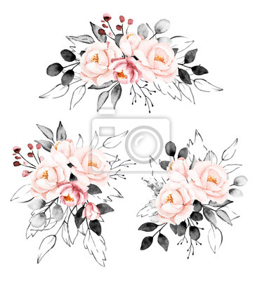 Peonies, watercolor pink and gray flowers set. Floral summer vintage collection isolated on white background. Hand drawing. Perfectly for wedding, birthday, party, other greetings design.