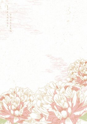Naklejka Peony flower background vector. Japanese wave template. Save the date invitation card.
