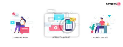 Naklejka People use gadgets. set of icons, illustration. Smartphones tablets user interface social media.Flat illustration Icons infographics. Landing page site print poster.