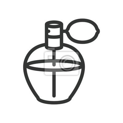 Perfumy Vintage butelka minimalny kolor płaskiej linii obrysu ikona piktogram