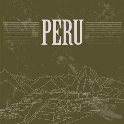 Naklejka Peru punkty orientacyjne. Retro stylizowany wizerunek.