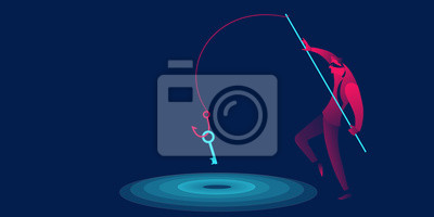 Naklejka Phishing, scam, hacker business concept in red and blue neon gradients. Man with fishing hook stealing key