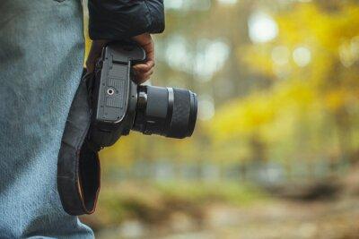 Naklejka photo camera in hand over blurred forest background