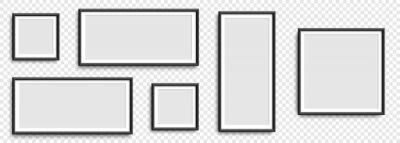Naklejka Photo frames. Collection Photo frames, isolated. Template mockup photo frame different shapes. Transparent background. Vector illustration