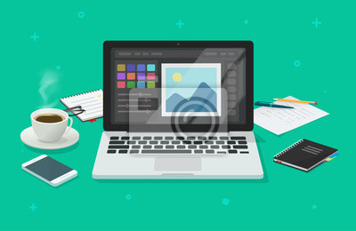Naklejka Photo or graphic editor on computer vector illustration, flat cartoon laptop screen with design or image editing software or program on workplace desktop table image