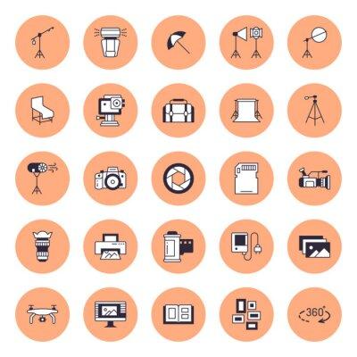 Photography equipment flat line icons. Digital camera, photos, lighting, video photo accessories, memory card, tripod lens film