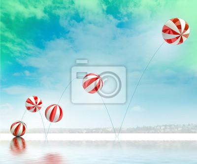 pięć skoków białe czerwone paski nadmuchiwane piłki na plaży
