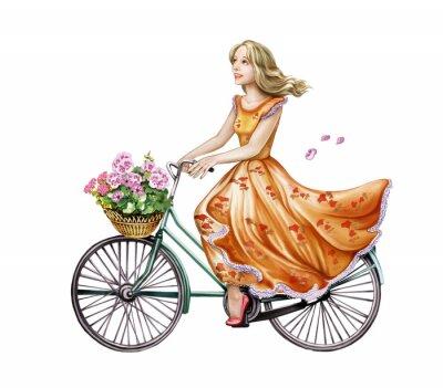 Naklejka piękna dziewczyna w sukience na rowerze