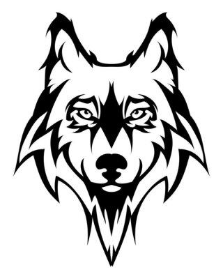 Naklejka Piękna głowa wilka tattoo.Vector wilka jako element projektu na tle izolowane