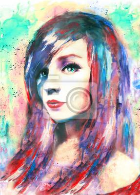 piękna kobieta, akwarela, kolorowe