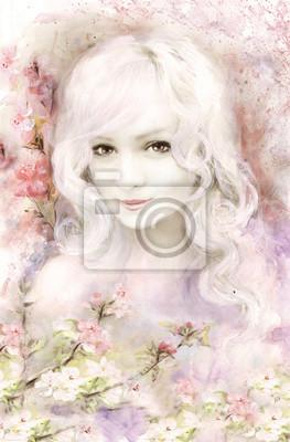 piękna kobieta, akwarela z pastelowym różu i przetargu kwiat, Sakura