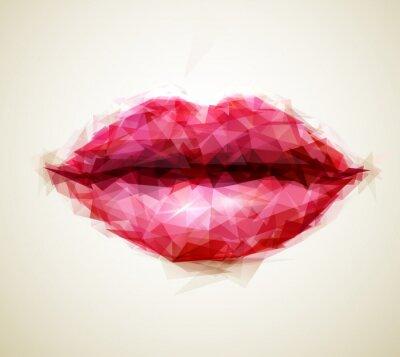 Piękna kobieta usta abstrakcyjne trójkąty utworzone przez
