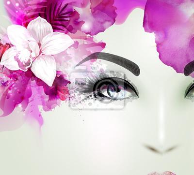 Piękna młoda kobieta patrzy prosto. Światło kwitnienie storczyków urządzone Streszczenie różowe włosy.