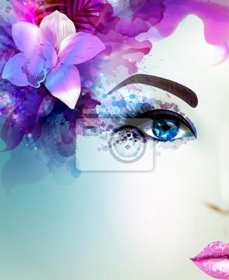 Piękna młoda kobieta patrzy prosto. Światło kwitnienie storczyków urządzone streszczenie różowy niebieskie włosy.