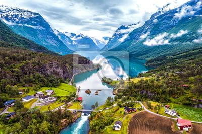 Naklejka Piękna Natura Norwegia fotografia lotnicza.