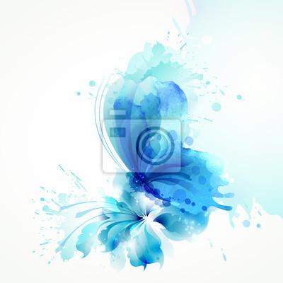 Piękne Akwarele abstrakcyjna niebieski motyl na kwiat na białym tle.