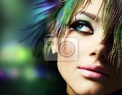 Piękne Fashion Woman Face.Perfect Makeup