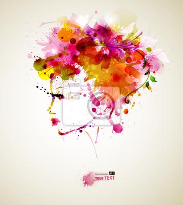 Piękne kobiety mody z abstrakcyjna włosów i elementów projektu