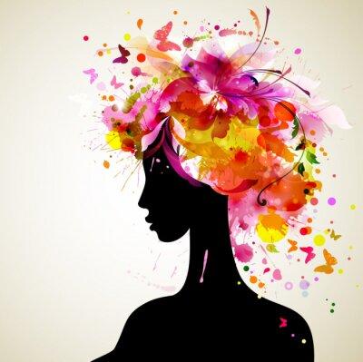Piękne kobiety z abstrakcyjnych elementów projektu włosów i