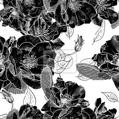 Piękne Monochrome Seamless Floral Pattern