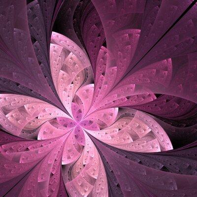 Naklejka Piękne przekątnej Fraktal kwiat lub motyla w witrażu
