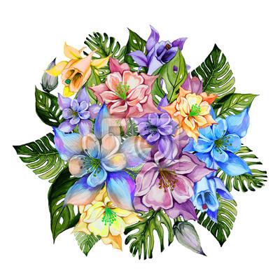 Piękne tropikalne kwiaty (jasne liście Orlik i monstera). Round wiązka kolombiny kwiaty i egzotów liście odizolowywający na białym tle. Malarstwo akwarelowe.