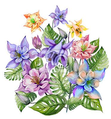 Piękne tropikalne kwiaty (kolorowe kwiaty z pąkami i liśćmi monstera). Wiązka kolombiny kwiaty i egzotów liście odizolowywający na białym tle. Malarstwo akwarelowe.