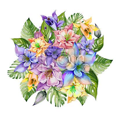 Naklejka Piękne tropikalne kwiaty (kolorowe kwiaty z pąkami i liśćmi monstera). Wiązka kolombiny kwiaty i egzotów liście odizolowywający na białym tle. Malarstwo akwarelowe.
