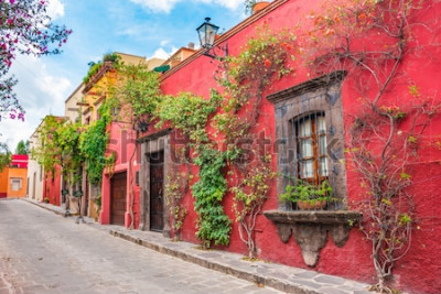 Naklejka Piękne ulice i kolorowe fasady San Miguel de Allende w Guanajuato, Meksyk