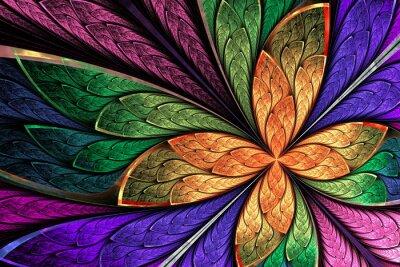 Naklejka Piękne wielokolorowe fraktalna kwiat i motyl w zabrudzonym gl
