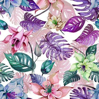 Piękni aquilegia kolombinu kwiaty i egzotyczni monstera opuszczają na białym tle. Malarstwo akwarelowe. Tropikalny kwiatowy wzór.