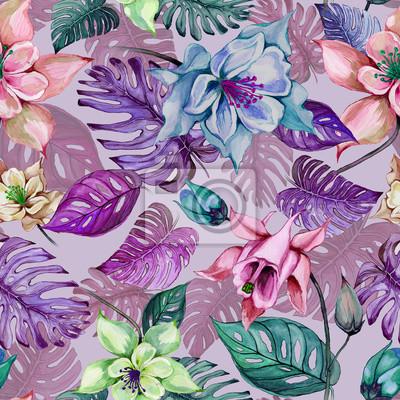 Piękni aquilegia lub kolombiny kwiaty i egzotyczni monstera opuszczają na różowym tle. Malarstwo akwarelowe. Tropikalny kwiatowy wzór. Ręcznie rysowane ilustracji.