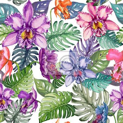 Piękni jaskrawi orchidea kwiaty i monstera opuszczają na białym tle. Tropikalny wzór kwiatowy. Malarstwo akwarelowe. Ręcznie rysowane ilustracji.